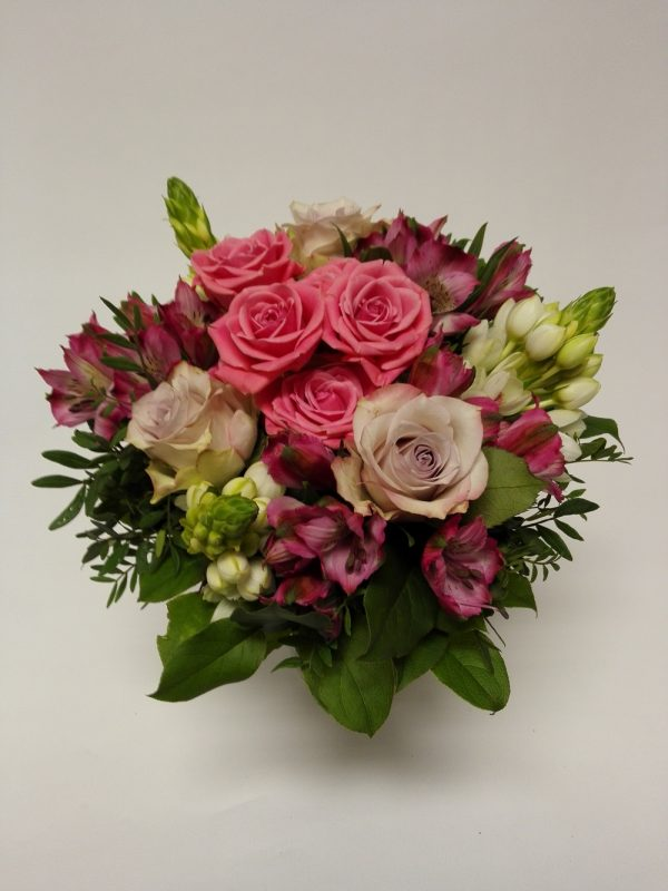Kytice růžová – ruze, alstomerie, ornithogalum – rozvoz květin Olomouc