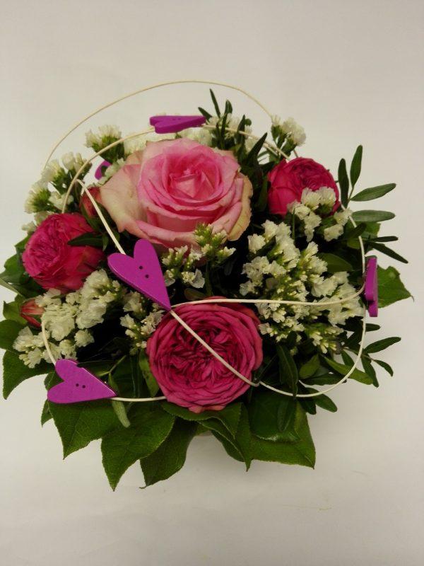 Růže – růžovobílá s minirůžemi – rozvoz květin Olomouc