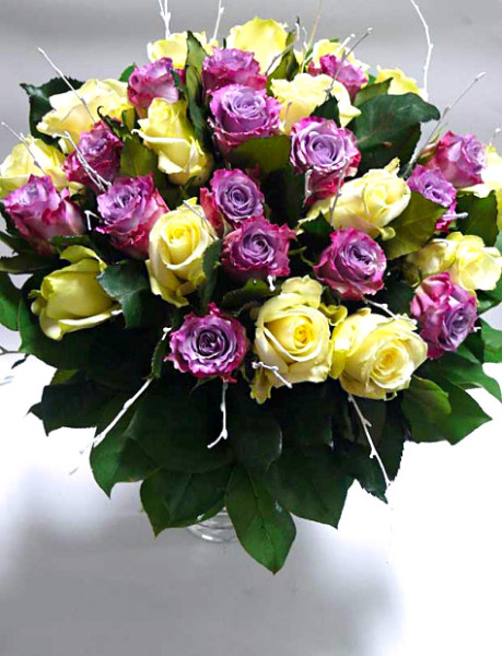 Fialové a bílé růže rozvoz Olomouc